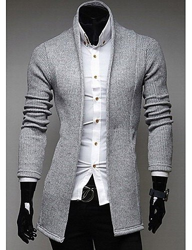XX&GX v collo manica lunga cardigan maglieria uomo Heide di , black , l light gray