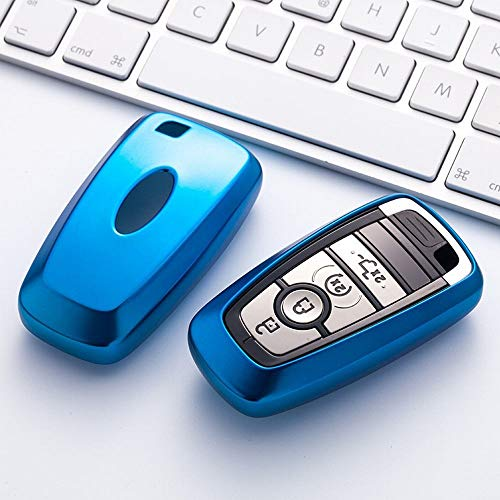FELICIPP Schlüsselanhängerhülle für Ford mit Schlüsselanhänger, kompatibel mit Schlüsselloser Fernbedienung, Smart Escort Edge Mondeo Ecosport Schlüsselserie, Blue-1 (Escort Smart)
