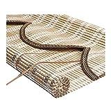ZEMIN Bambus Rollo Dauerhaft Abgeschnitten Ziehen Bambusrollo Anpassbar Heben, Innen/Außen Installieren, 3 Farben, 24 Größen