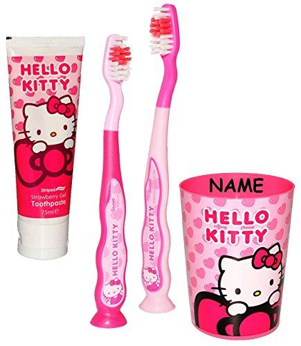 alles-meine.de GmbH 4 tlg. Zahnputzset -  Hello Kitty  - mit 2 Zahnbürsten & Zahnputzbecher & Za..