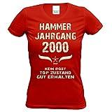 Soreso Design Damen Frauen Shirt 18. Geburtstag Geburtstagsgeschenk Hammer Jahrgang 2000 Volljährig Farbe: Rot Gr: XXL