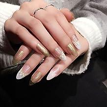 yunail 24LED de oro con purpurina transparente Stiletto falso acrílico uñas postizas