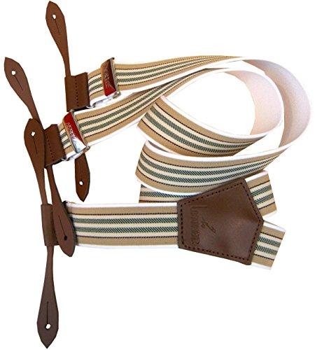 Bretelle a bouton attaches cuir Taille 110 cm réglable Vert