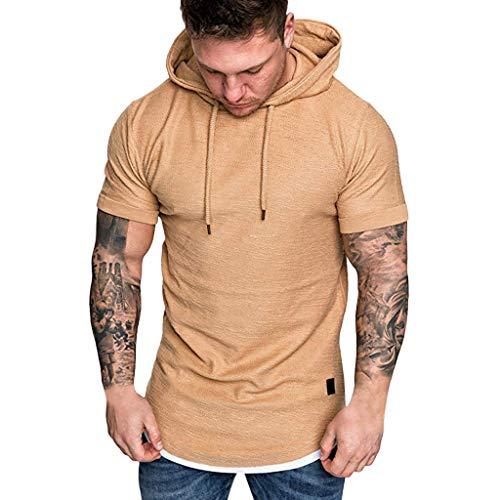 Xmiral Kurzarm Hoodie Sweatshirt Herren Einfarbig T-Shirt mit Kapuze Outwear Männer Sommer Fake Zwei Stücke Casual Tops(Khaki,XL)