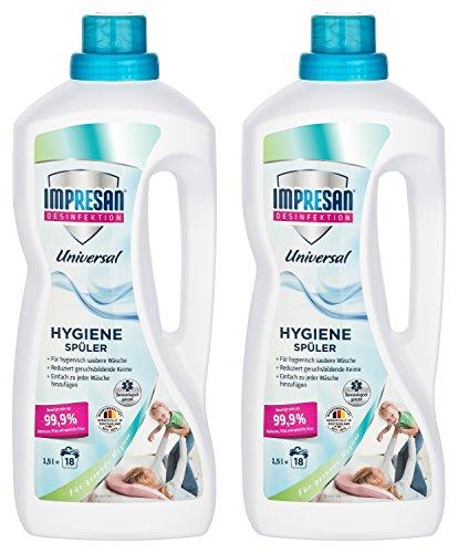 Impresan Hygiene-Spüler Universal - 2 x 1,5L - Wäsche-Desinfektion - Desinfektionsspüler - beiseitigt mehr als 99,9% Bakterien, Pilze und Viren (2er Pack)