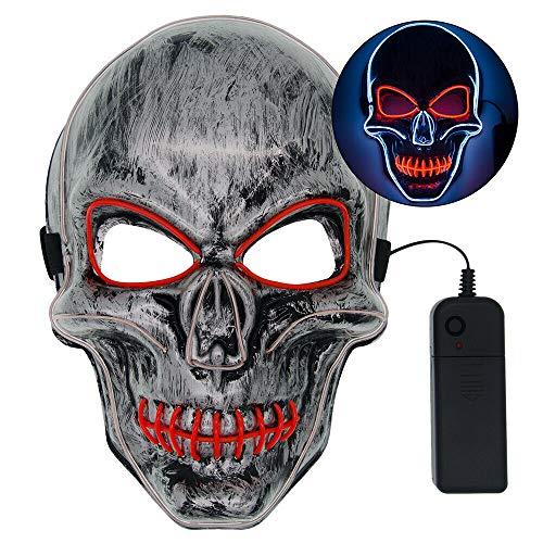 Der Kostüm Gruppe Sechs - ZHUOHONG Halloween LED Leuchtmaske - Schreckliches Kostüm für Halloween Cosplay Karnevalspartys Powered Battery