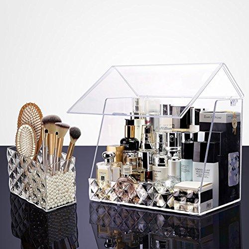 Boîte de rangement cosmétique bain organisateur de maquillage maquillage transparent blanc stockage de brosse de maquillage tiroir acrylique cadeau de petite amie surprise garçons pour les filles porte-rouge à lèvres boîte de rangement présentoir de vernis à ongles tablette multifonctions-J