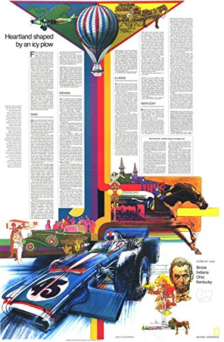 Reproduktion eines Poster Präsentation-USA-Illinois, Indiana, Ohio, Kentucky 2(1977)-61x 81,3cm Poster Prints Online kaufen