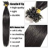 Bondings Extensions Echthaar 1g U-Tip Haarverlängerung 50 Strähnen Keratin Human Hair 50g-50cm(#1 Schwarz)