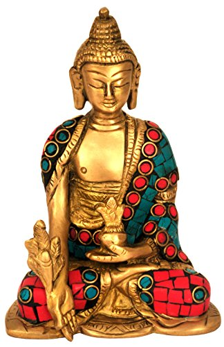Alterras - Figur: Medizin Buddha dreifarbig verziert (HxB: 12x9cm)