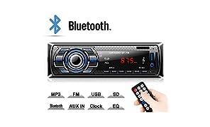 Kdely Autoradio Bluetooth Manos Libres 4×60W Radio FM Estéreo de Coche, Apoyo de Reproductor MP3, Llamadas Manos Libres AUX/SD/USB/EQ / MP3 /TF + Control Remoto