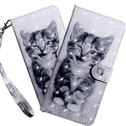 HMTECH LG K50 Hülle,Für LG Q60 / LG K50 Handyhülle 3D Niedliche kleine Katze Flip Case PU Leder Cover Magnet Schutzhülle Tasche Ständer Handytasche für LG Q60 / LG K50,BX Little Cat
