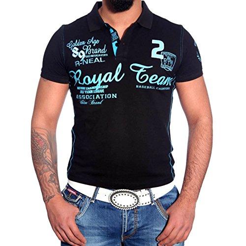 R-Neal Herren Poloshirt Kurzarm Neu T-Shirt Kontrast V-Neck Polo Hemd RN-6687 Schwarz