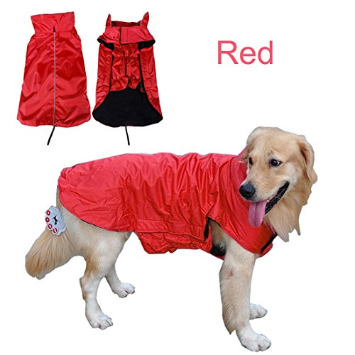 Wasserdicht Pet Hunde Regenmantel Jacke Hund reflektierender Night Sicherheit Jacke Hoodies Pullover Fleece gefüttert für Wärme Brustschutz Haustier Hund Outdoor Kleidung Apparel Winter Warm für kleine medium Große Hunde