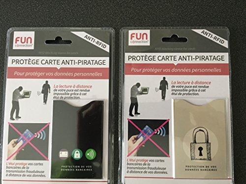 Lot de 2 étuis de protection anti piratage sans contact de carte bancaire contre toute utilisation frauduleuse en paiement sans contact - anti piratage