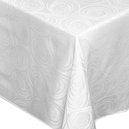 Nappe rectangle 150x350 cm Jacquard 100% coton SPIRALE blanc