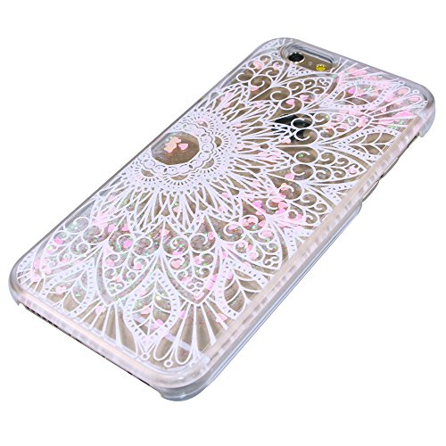 iPhone 5C Coque ,iPhone 5C Coque,iPhone 5C Case,EMAXELERS Petite série Pink Heart dur Plastique Transparent Clair Liquide Glitter Bling Sparkles Deux plumes blanches Design Strass Cas Cover Coquille 3 Pink Heart Series 18