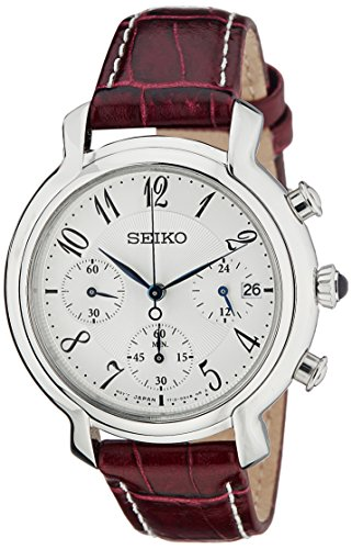 Seiko SRW875P2 Silver & Purple Leather Woman's Chronograph Watch Leather