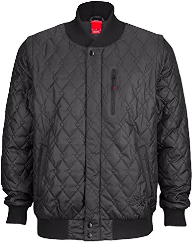 Nike Air Mens Varsity Quilted Jacket Zip Off Sleeves Black