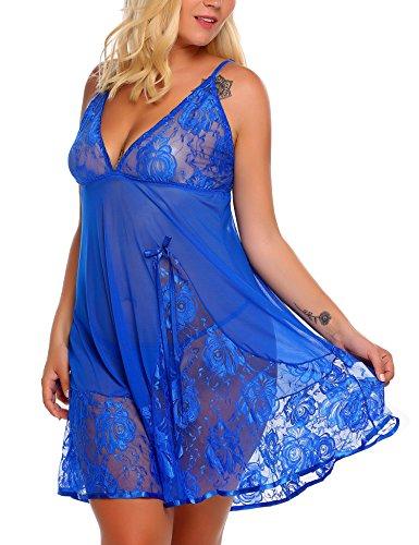 n Sexy Unterkleid Damen Spitze Kurz Unterröcke Negligee Kleid Lingerie Babydolls Pyjama Dessous Set mit G-String ()