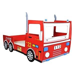 Anself Kinderbett Autobett Feuerwehrbett aus Holz Rot 200 x 90 cm