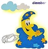 3-D Wandlampe - LED dimmbar aus Holz - Mond u. Sterne - Lampe mit Schalter für Kinder - Kinderzimmer Kinderlampe Wandleuchte mit Stecker / Nachtlicht / Schlummerlicht - Wandlicht für Jungen Mädchen Dimmer