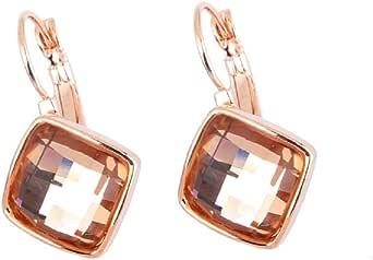 Crystalline Azuria - Orecchini pendenti da donna placcati in oro rosa o bianco 18 ct, con cristalli quadrati, colore: bianco, blu, verde, viola, arancione, rosso