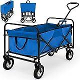 Blue Hand Cart Festival Garden Trolley Foldable 150x56x63cm Outdoor Folding Heavy Duty Wagon Utility Steel Truck