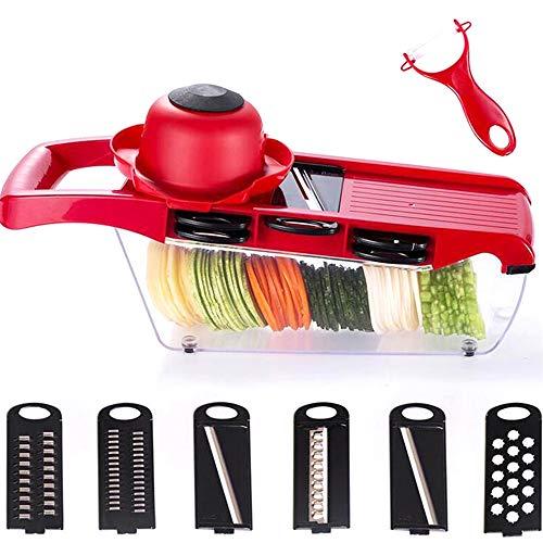Xinlie Profi Gemüsereibe Manuelle Essen Slicer für Gemüse und Obst Multifunktions-Essen Slicer Slicer Reibe 6+1 in 1 Bieten Kitchen Aid, Sicher, Schnell mit 6 Austauschbare Klingen(10-teiliges Set) (Reibe Slicer Set Mandoline)