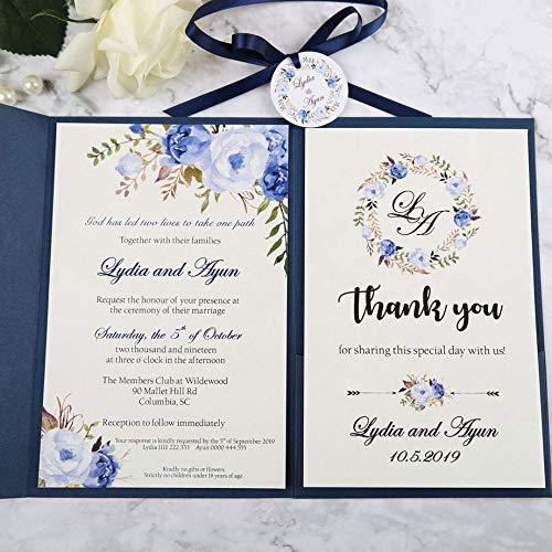 AOWEIRILUV 100 PC Hochzeits-Einladungs-Blaue Taschen-Gruß-Karten mit Umschlag mit Band und Umbau für Hochzeitsfest-Einladungs-Karte