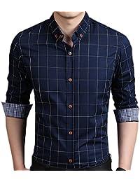 75f880ce215 AIYINO Mens Slim Fit Long Sleeve Plaid Printings Business Checked Shirt