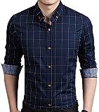 AIYINO Herren Casual Hemd Slim Fit Langarm Shirts Freizeit Baumwolle 5 Farben Größen XS-XL (X-Large, Navy)