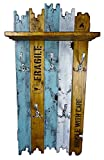 SHaBBy CHic ViNTaGe Holz Garderobe mit 5x3 Metallhaken blau braun weiß (HXBXT: 115x5ox15 cm) aus Echtholz/Massivholz im used look rustikal Landhaus Stil (alternativ: Gaderobe, Gardrobe)