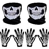 2 Set Weiß Skelett Handschuhe und Schädel Gesichtsmaske Geist Skelett für Erwachsene Halloween Tanzen Party Kostüm