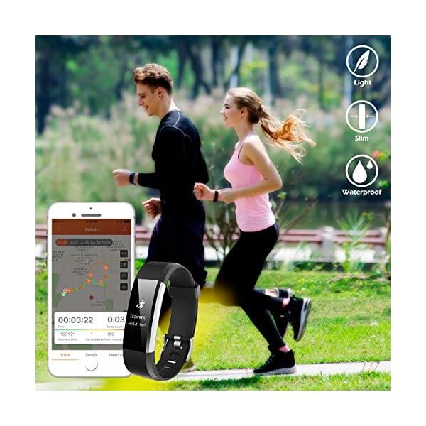 CHEREEKI Pulsera Inteligente, Pulsera de Actividad Fitness Tracker Impermeable IP67 7