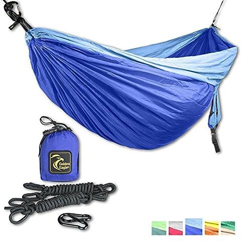 GOLDEN EAGLE DoubleEagle (2 person) Camping Hammock Set - Lightweight Parachute Portable Hammocks for Hiking, Travel, Backpacking, Beach, Yard. Escape, Relax, Dream. SWISS DESIGN. (dark blue-light