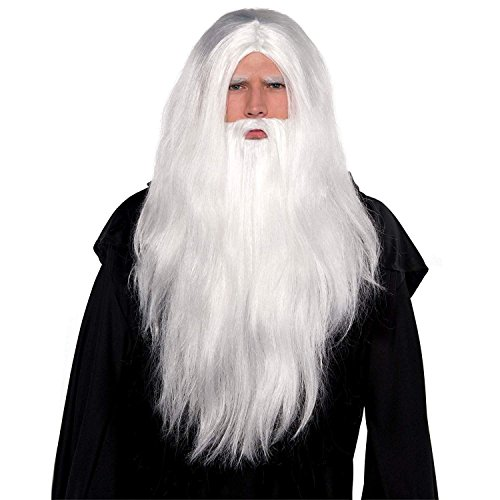Gifts 4 All Occasions Limited SHATCHI-1328 Shatchi Merlin Gandalf Dumbledore Magician Xmas Christmas Party Long White Wizard Perücke & Long Bart Set Fancy Accessories Dress
