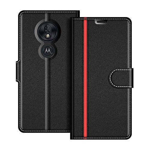 COODIO Motorola Moto G7 Play Hülle Leder, Moto G7 Play Lederhülle Ledertasche Wallet Handyhülle Tasche Schutzhülle mit Magnetverschluss/Kartenfächer für Motorola Moto G7 Play, Schwarz/Rot
