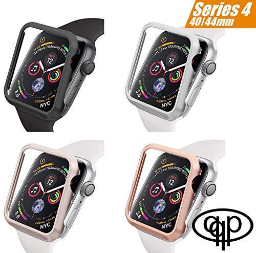 qualiquipment Aluminium Hülle 44mm/40mm kompatibel mit Apple Watch, iWatch Zubehör Metall Schutzhülle Case Bumper Cover Rahmen Schutzhülle für Series4 (Schwarz, 44mm)