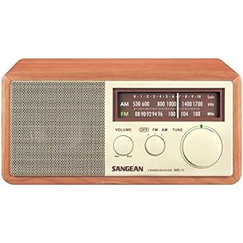 Sangean WR-11 Desktop-Radio (UKW/MW-Tuner, AUX-In, Kopfhöreranschluss) walnuss/cremeweiß