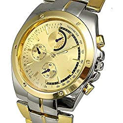 Mixe Men's Fashion Golden Dial Analog Stainless Steel Gold Sliver 2 Tone Wrist Watch Gift