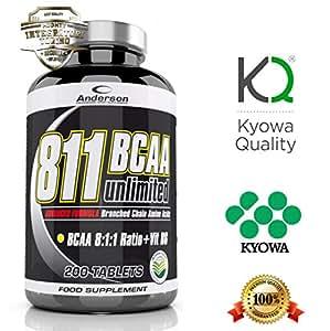Integratore Anderson Kyowa new 811 (200 cpr) aminoacidi ramificati Bcaa rapporto 8:1:1 con Vitamina B6 Advanced Formula