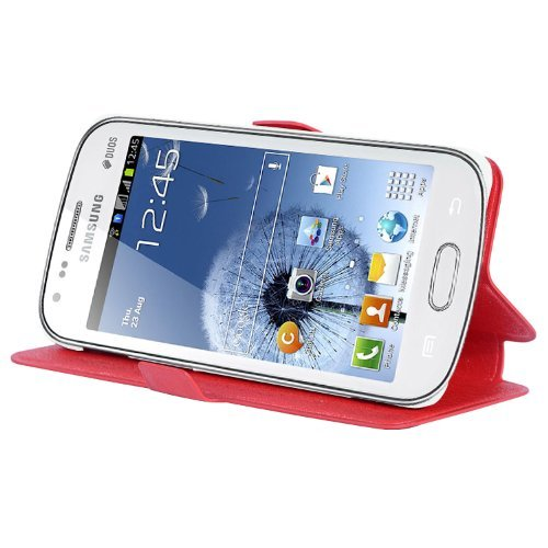 Preisvergleich Produktbild Cadorabo Hülle für Samsung Galaxy GRAND DUOS / GRAND NEO - Hülle in ICY ROT – Handyhülle mit Standfunktion und Kartenfach im Ultra Slim Design - Case Cover Schutzhülle Etui Tasche Book