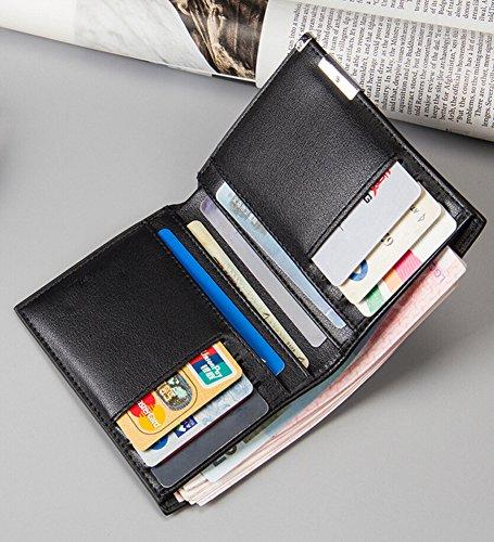 Kurz Geldbörse Herren Leder Portemonnaie Brieftasche Freizeit Kleinlederwaren Gold