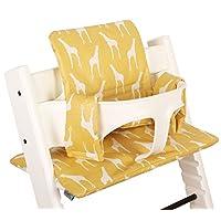 Highchair cushion Ukje Stokke Tripp Trapp - Yellow giraffes - COATED ♥