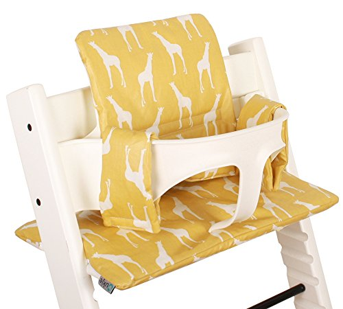 Coussin Chaise Haute pour Stokke Tripp Trapp - Jaune avec des girafes - Facile à nettoyer ?