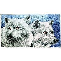 8 Modell wolf Knüpfteppich für Kinder und Erwachsene zum Selber Knüpfen Teppich Latch Hook Kit child Rug Animal 570 50 by 38 cm