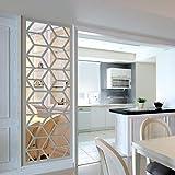 Wandaufkleber Yesmile, 16PCS Spiegelfliesen Selbstklebend Spiegel Wandspiegel Wanddekoration (Silber)