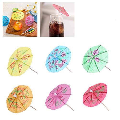 ieße Einweg Mini Sonnenschirm Form Cocktail Picks Kuchen Topper Cupcake Toppers Party Supplies 144 Stück (Mischfarbe) ()