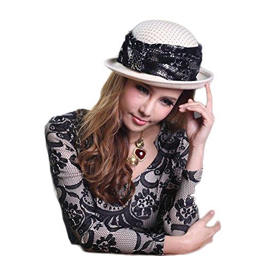AM-women's hat Mode Mischfarbenhaube Wollhut Herbst und Winter Wolle Material Damenhut Komfort (Farbe : Beige)